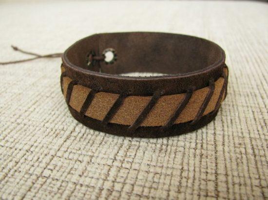 Массивный кожаный браслет