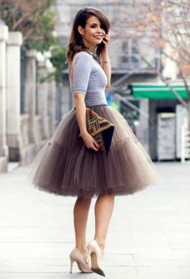 сочетание юбки пачки и футболки