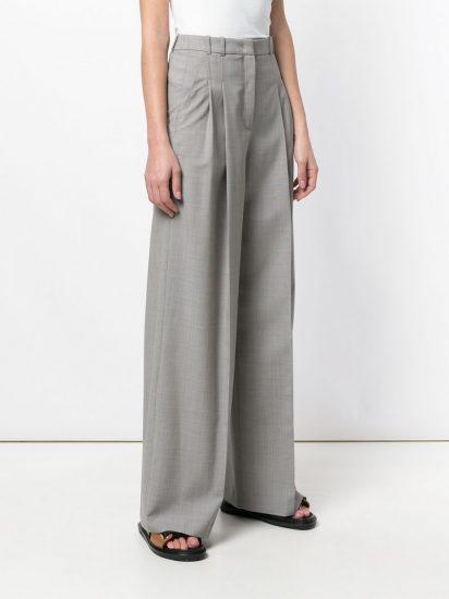 Серые широкие брюки