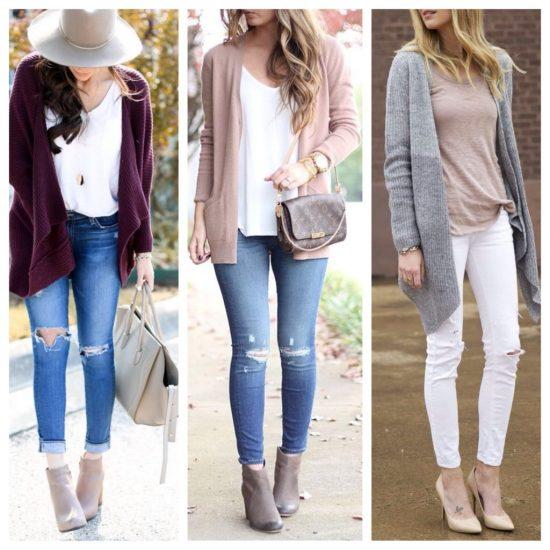 Образы с кардиганами и узкими джинсами