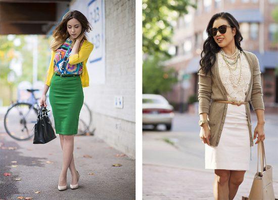Образы с кардиганами и юбками