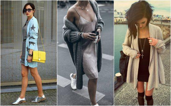 Образы с кардиганами и короткими платьями