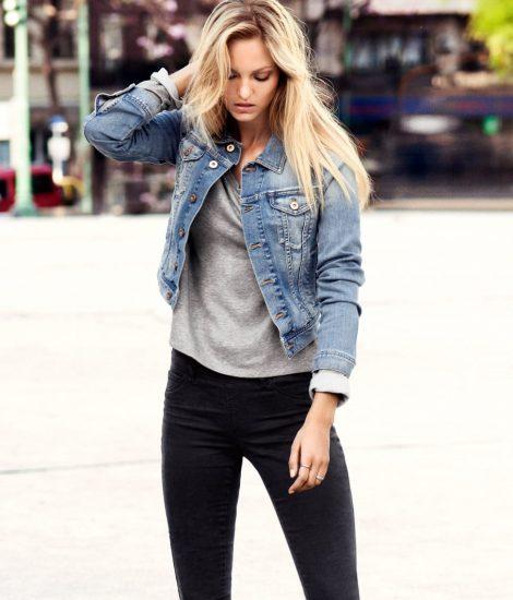Джинсовая куртка с чёрными джинсами