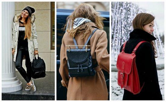Девушки в пальто с рюкзаком