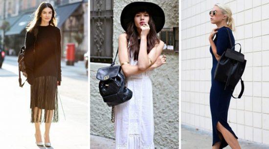 Кожаный рюкзак с платьем
