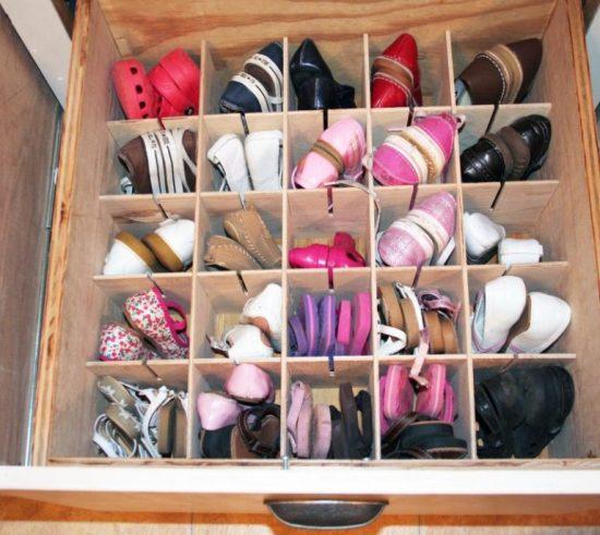 Ящик с ячейками для обуви