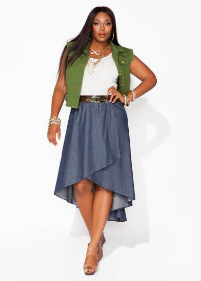 Джинсовая юбка на полной девушке