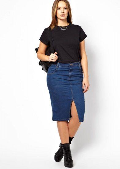 Джинсовая юбка с высокой талией на полной девушке