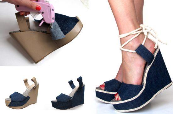 Обновление старых туфель с помощью ткани