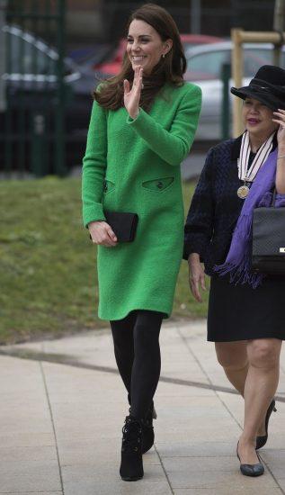 Кейт Миддлтон в зелёном платье