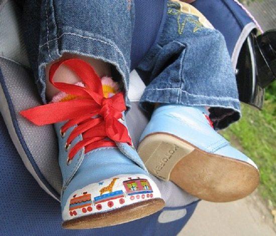 Рисунок на стёртых местах обуви