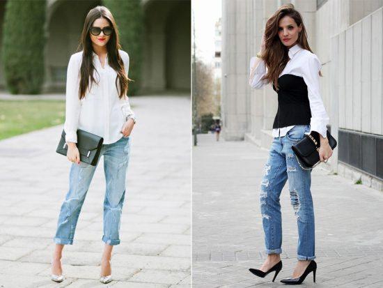 Образы с джинсами-бойфрендами и белыми рубашками