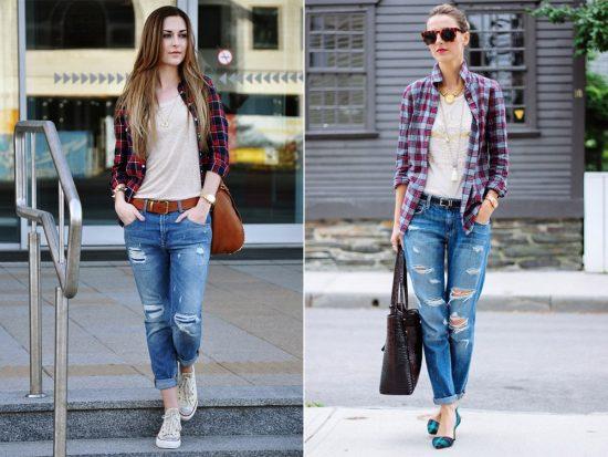 Образы с джинсами-бойфрендами и клетчатыми рубашками