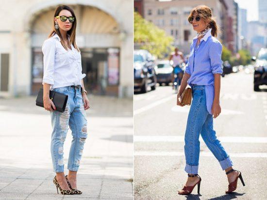 Образы с джинсами-бойфрендами и рубашками