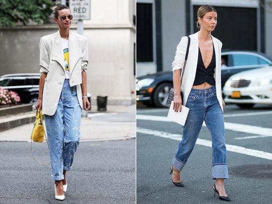 Образы с джинсами-бойфрендами и белыми пиджаками
