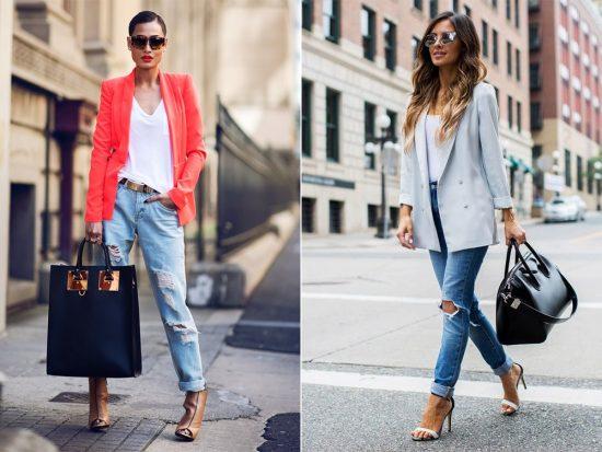 Образы с джинсами-бойфрендами и пиджаками