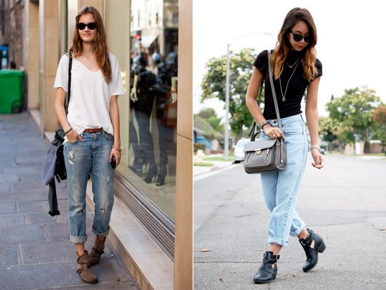 Образы с джинсами-бойфрендами и футболками