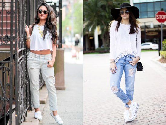 Образы с джинсами-бойфрендами и белыми топами