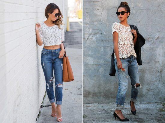 Образы с джинсами-бойфрендами и белыми кружевными топами
