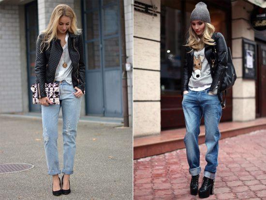 Образы с джинсами-бойфрендами и кожаными куртками