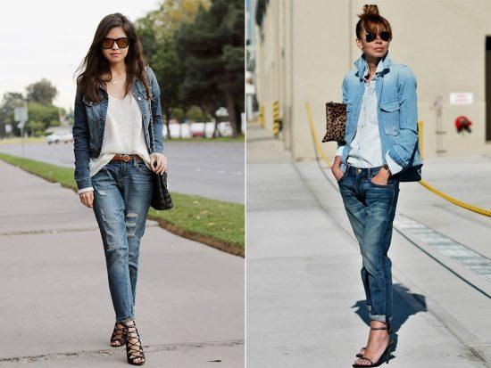 Образы с джинсами-бойфрендами и джинсовыми куртками