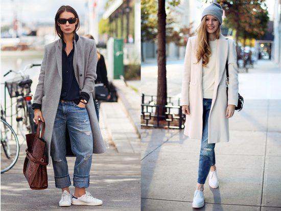 Образы с джинсами-бойфрендами и пальто