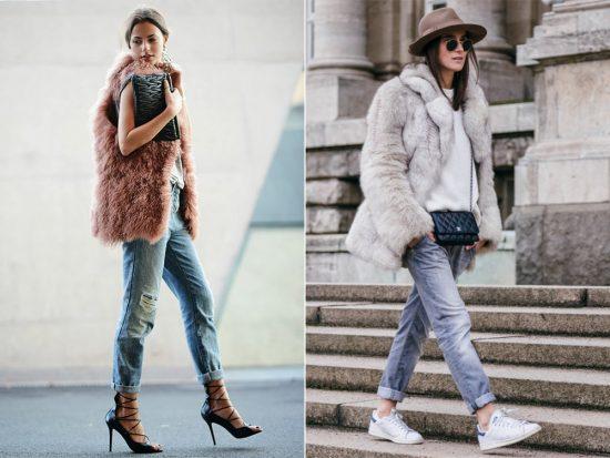 Образы с джинсами-бойфрендами и меховыми изделиями