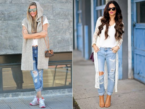 Образы с джинсами-бойфрендами и кардиганами