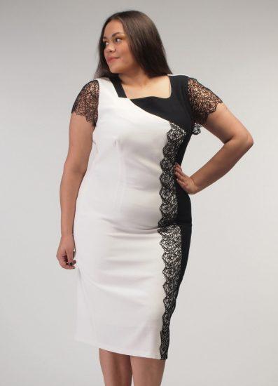 Чёрно-белое платье на полной девушке