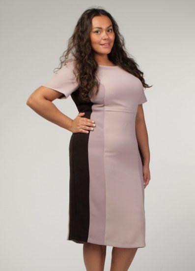 Платье со вставками на полной девушке