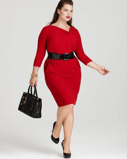 Красное платье на полной девушке