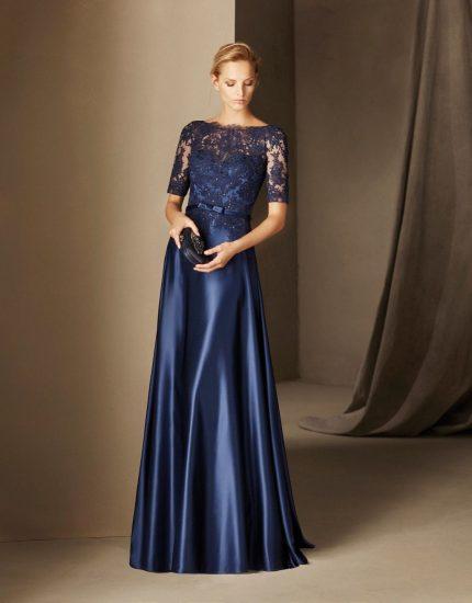 Тёмное платье в пол с кружевом