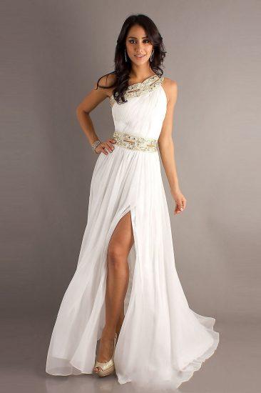 Белое платье в греческом стиле на выпускной