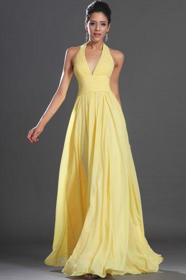Жёлтое струящееся платье в пол