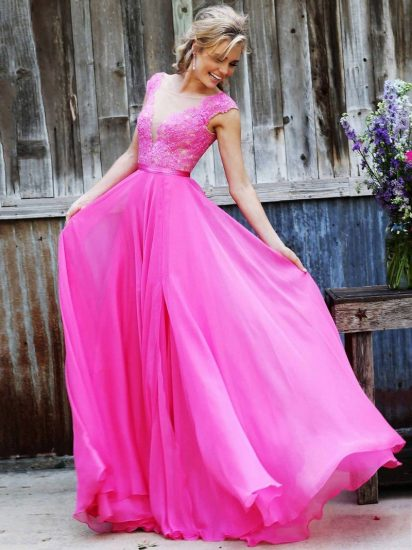 Розовое платье в пол на выпускной