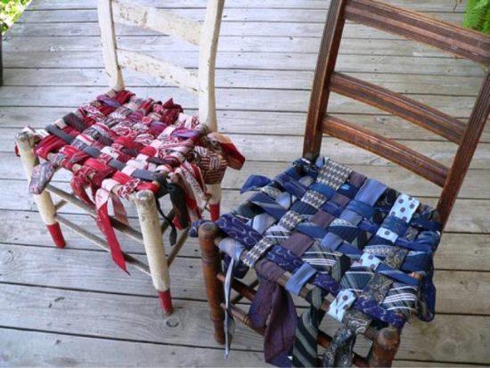 Плетёные сиденья из галстуков