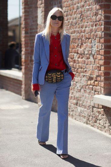Образ с поясной сумкой и костюмом