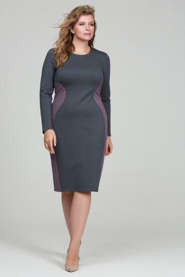 Приталенное платье с вертикальными вставками
