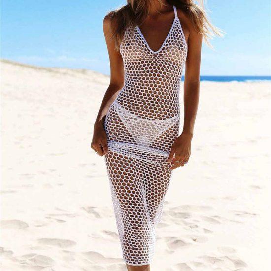 Пляжное платье в сетку