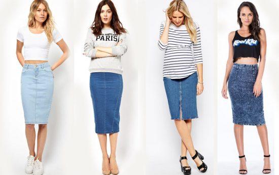 Образы с джинсовой юбкой-карандаш
