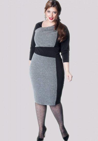 Платье со вставками на полной женщине
