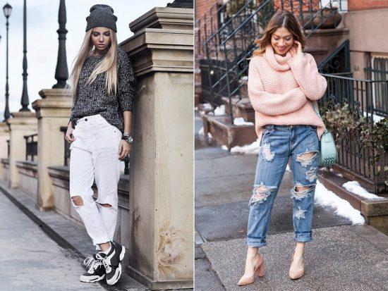 Образы с джинсами-бойфрендами и свитерами