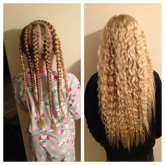 Девочка с косичками и волнистыми волосами