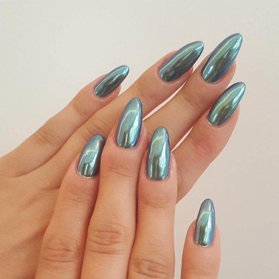 Дизайн ногтей с зеркальной втиркой