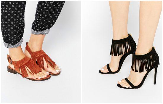 Сандалии и туфли с бахромой