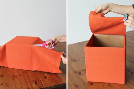 Отделка коробки тканью