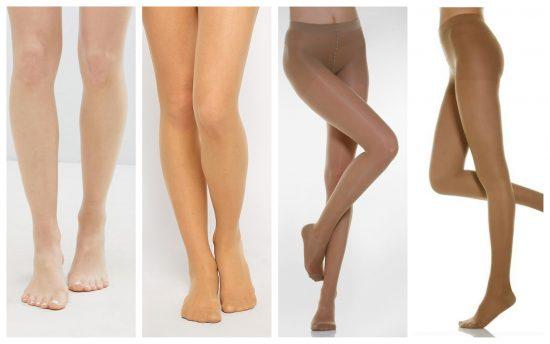 Женские ноги в колготках разной плотности