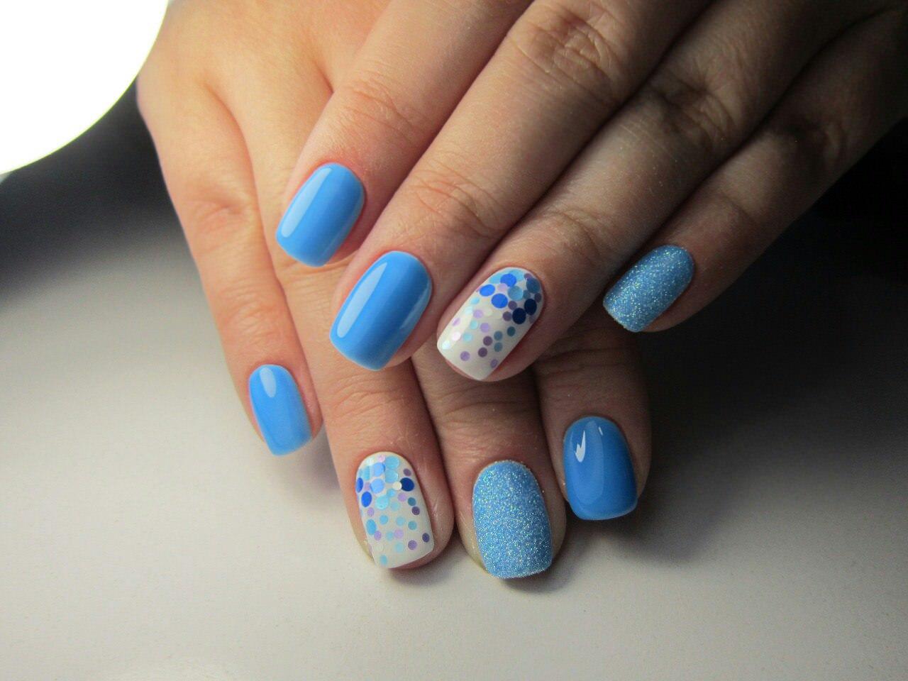 Лучший дизайн ногтей лето голубого цвета