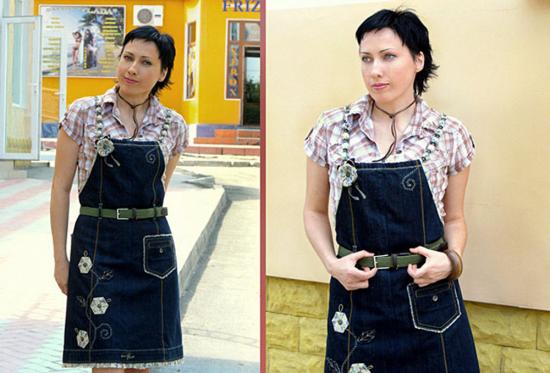 Сарафан типа «фартук» из джинсов своими руками