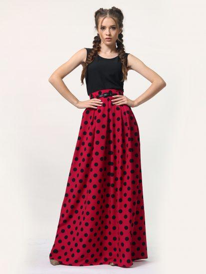 с чем носить красную юбку в горошек